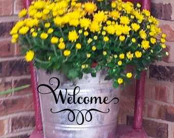 Welcome Galvanized Pail Bucket for Front Porch decor!  Beautiful hostess or housewarming gift!