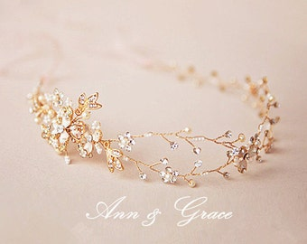 Golden Blossom Hair Vine, Crystal and Pearl Bridal Headband, Rhinestone Wedding Headpiece