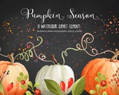 Pumpkin clipart, Autumn clipart, Halloween clipart, Sweet Briar, digital clipart, hand painted clipart, fall clipart, watercolor clipart
