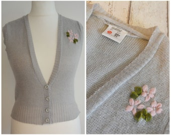 Vintage Grey Tank Top Cardigan with Ribbon and Pearl Flower Details size UK 8 XS S