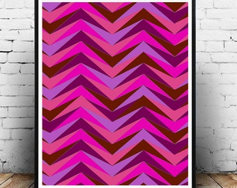 Abstract Illusion Shades of Fuschia Decorative Art Print (8.5x11in) Downloadable Print