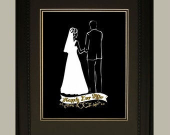 """Wedding Silhouette """"Happily Ever After"""" Couple #1 Beautiful Bride and Groom 8X10 Digital Print wedding gift or keepsake"""