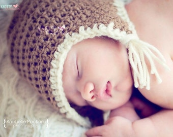 Crochet Aviator Beanie// Newborn Photo Prop//