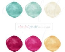 High Resolution Watercolor Circle Clip Art Turquoise Tan Beige Gold Fuschia Pink Colors Watercolor Shapes Clip Art Beautiful Hand Drawn