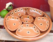 Mexican botanero, serving tray, clay platter