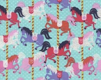 10.50 Yard - Timeless Treasures Carousel Horses on Aqua - TULA Carousel - Timeless Treasures Glitter Unicorn