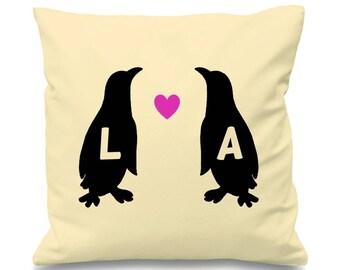 Personalisiert werden Sie mein Seelenfreund Pinguin. Pinguine In Liebe Initialen farbige Baumwolle Kissen
