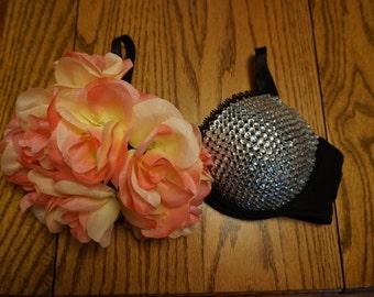 Rave floral blinged bra/ costume bra/ halloween costume/ decorated bra/ lingerie bra
