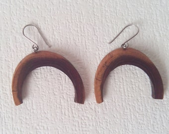 Wooden earrings - Horseshoe