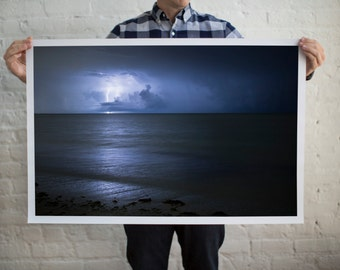 Thunderstorm Photography, Lightning Bolt Photography, Lightning Strike, Seaside Storms, Beach Storms, Thunderstorm Lovers, Lightning Print