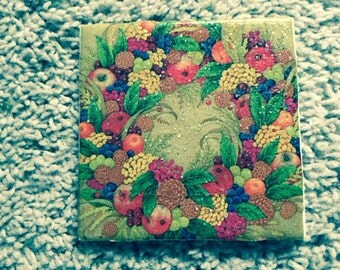 Fall Fruit Cornucopia Wreath Ceramic Tile Coasters (set of 4)