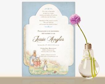 Peter Rabbit Baby Shower Invitation -Beatrix Potter Bridal Shower- Baby shower party invite-Girl or Boy- Gender Neutral- Thank you Card - DG