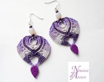 Earrings micro-macrame Purple Hearts-shaped
