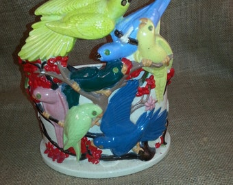 Vintage Holland Mold Planter Flock of Birds