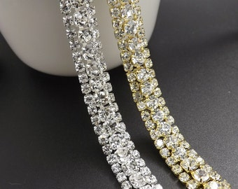 Sparkle Rhinestone Trim Bridal Silver Rhinestone Bridal Sash DIY Trim Gold Trim Wholesale