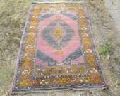 Vintage Oushak Rug Turkish Handwoven Pale Color Rug Carpet  Pastel Color Tones 6.8 x 3.6 feet Kitchen - Livingroom - Saloon - Kids room RUG