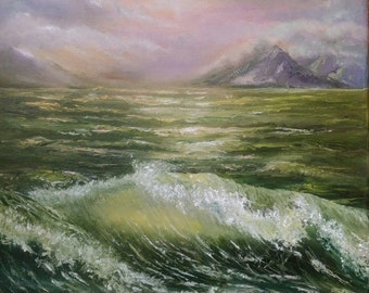 Seascape oil painting beach painting sea art original painting on canvas ocean wave art raging sea painting landscape impressionist wall art