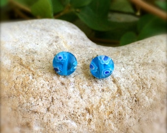 Mini Cerulean Glass Millefiori Round Studs- 6mm- Tiny Glass Earrings- Artsy Earrings- Fall Fashion