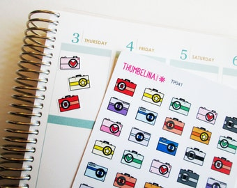 Camera planner stickers for Erin Condren, Plum Papaer Planner, Filofax, Kikki K and more (TP041)