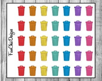 Colored Trash Can Planner Stickers
