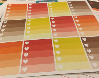 Fall colors to do ombre heart checklist - stickers for planners, journals, scrapbooks and more!