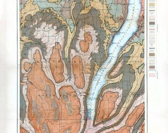 Canandaigua Lake Geological Map - 1900