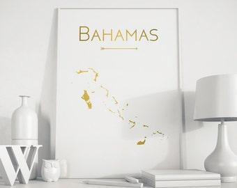 Bahamas map Bahamas print Bahamas island Bahamas art Bahamas wall art Bahamas printable Room décor Geometric art Gold art gold Birthday gift