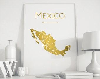 Mexico map Mexico poster Mexico city Mexico wall art Mexico art Mexico print Mexico printable Gold art gift for birthday wall art home decor