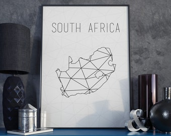 South Africa map South Africa art South Africa poster Geometric print Art Black and White Minimalist Art Modern Wall Art Scandinavian modern
