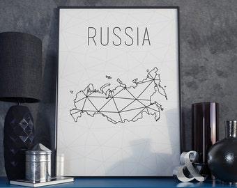 Russia map Russia wall art Russia art Russia print Russia printable Geometric art Scandinavian style gift for birthday home decor minimalist