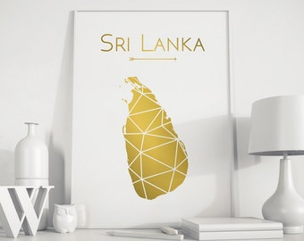 Sri Lanka art Sri Lanka map Sri Lanka wall art Sri Lanka print Sri Lanka poster Gold art Gift for christmas Country art print Geometric art