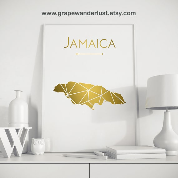 Jamaica art jamaica map jamaica poster jamaica wall art for Home decor jamaica