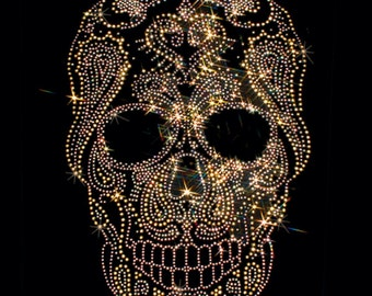 Womans SHORT SLEEVE T Shirt Gold Rhinestuds Day of the Dead Sugar Skull 15490