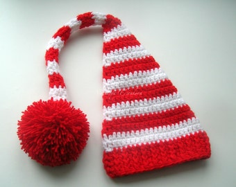 Crochet Baby Santa Hat/Crochet Baby Hat/Santa hat/Newborn Crochet Hat/Christmas Pixie Photo prop /Christmas hat/Red White Striped Santa hat