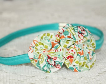 Teal/Floral Thin Stretchy Headband