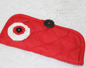 Red/Black Eyeglass or Sunglass Case