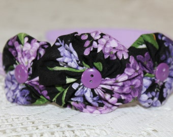 Purple Thick Solid Headband with Floral Yoyo Flowers