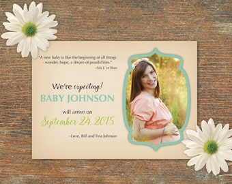 Pregnancy Baby Announcement with photo, customizable, printable