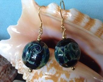 Lampglass Ocean Wave earrings