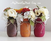 Fall Mason Jars, Fall Centerpieces, Autumn Home Decor, Distressed Mason Jars, Mason Jar Decor, Fall Wedding, Thanksgiving Centerpieces