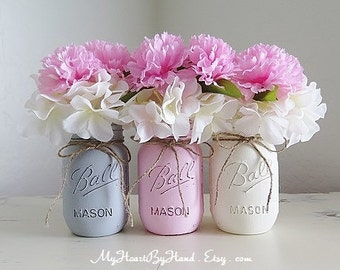 Distressed Mason Jar Decor, Rustic Flower Vases, Mason Jar Centerpeices,  Farmhouse Decor,