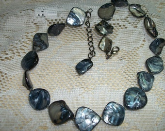 Necklace with Extender, Blue Abalone Shell
