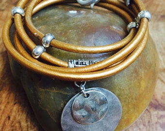 Indian Sun Leather Wrap Bracelet With Silver Beads, Clasp And Wavy Disc