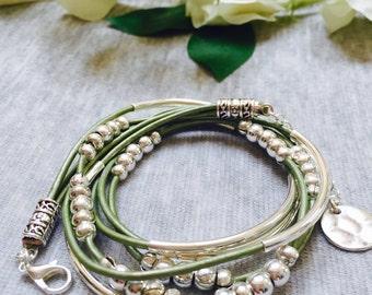 Triple Wrap Leather Tube Bracelet