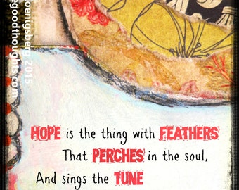 Hope is the Thing With Feathers That Perches in the Soul Greeting Card (86)