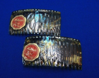 Vintage 2 Celluloid Faux Tortioise Shell Hair Combs in Original Package Mikona Echt Celluloid