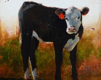 Cow painting Cow art Calf painting Original oil painting on wood panel Toomalatai fine art Cow picture Cow wall art Black white faced calf