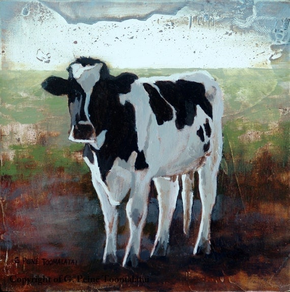 Black Cow Wall Decor : Items similar to cow painting art wall
