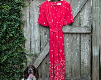 "Vintage Red Floral Maxi Dress/R&K Originals Woman Dress/Size 12/Runs Small/52""Long/22""Wide/Waist Ties/Zipper Back/*FREE Gift Wrap*"