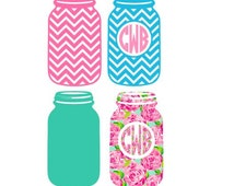 Mason Jar Monograms SVG, Studio 3, DXF, EPS and pdf Cutting Files for Electronic Cutting Machines